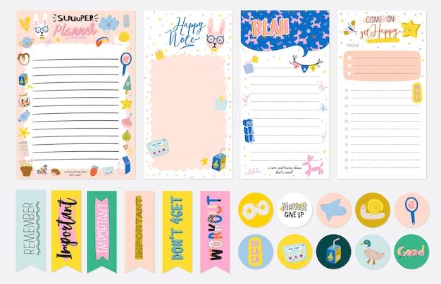 Verzameling van wekelijkse of dagelijkse planner, notitiepapier, takenlijst, stickersjablonen