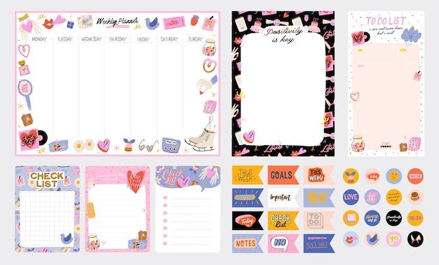 Verzameling van wekelijkse of dagelijkse planner, notitiepapier, takenlijst, versierde stickersjablonen