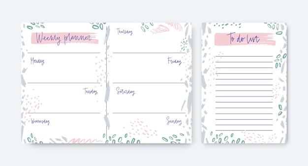 Verzameling van wekelijkse planner- en takenlijstsjablonen versierd met vlekken en krabbels
