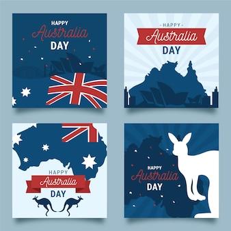 Verzameling van wenskaarten van de dag van australië