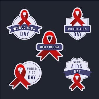 Verzameling van wereld aids dag badges