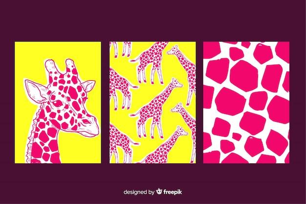 Verzameling van wilde dieren kaarten