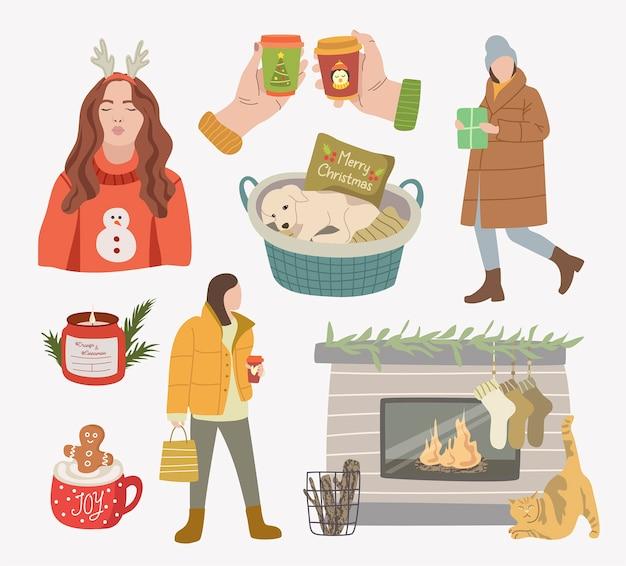 Verzameling van winter- en kerstelementen.