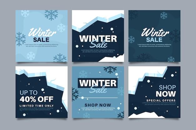 Verzameling van winteruitverkoop instagram-berichten