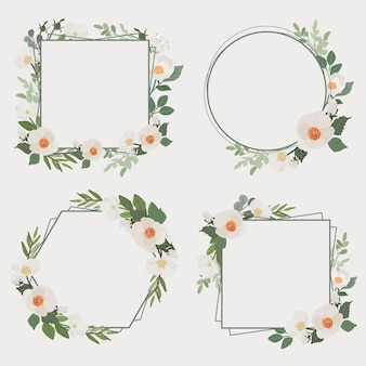 Verzameling van witte camellia bloemboeket frame