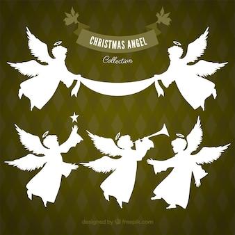Verzameling van witte kerst engelen