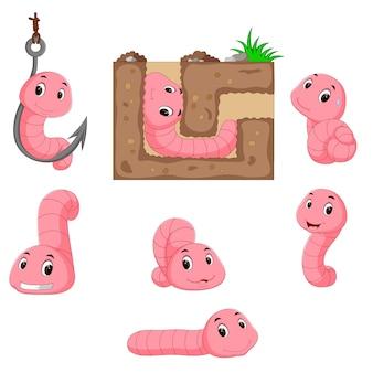 Verzameling van worm cartoon