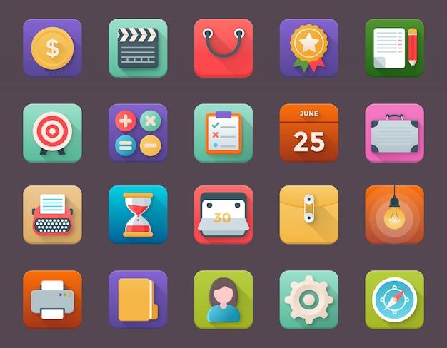 Verzameling van zakelijke app-pictogrammen