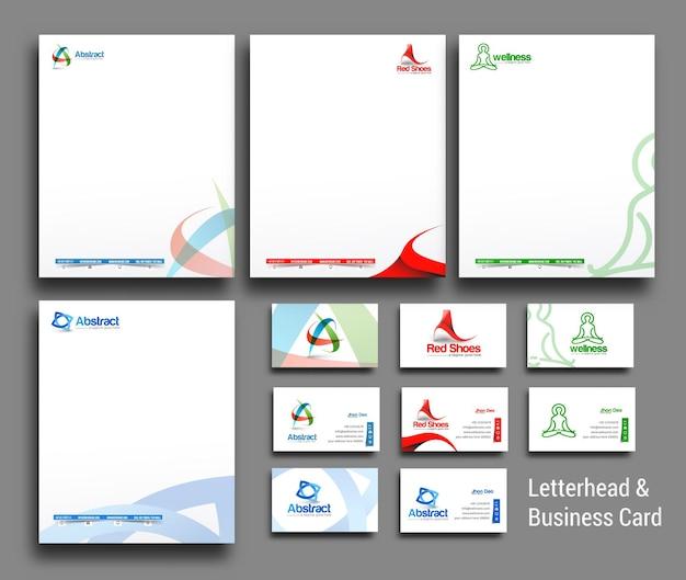 Verzameling van zakelijke briefpapier en visitekaartjes in zakelijke stijl Premium Vector