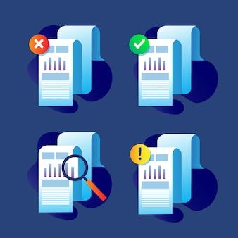 Verzameling van zakelijke papieren pictogram instellen voor belasting- en boekhoudkundig onderpand