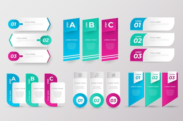 Verzameling van zakelijke presentatie-elementen