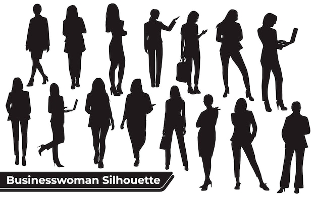 Verzameling van zakenvrouwen silhouetten in verschillende poses