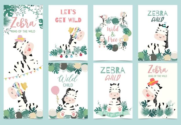 Verzameling van zebra-feest