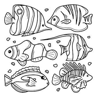 Verzameling van zee mooie vissen doodle