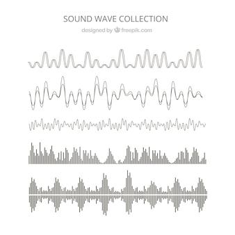 Verzameling van zes abstracte geluidsgolven