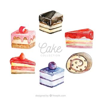 Verzameling van zes aquarel taarten