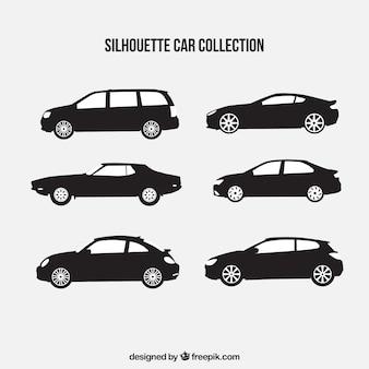 Verzameling van zes autosilhouetten