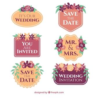 Verzameling van zes bruiloft badges