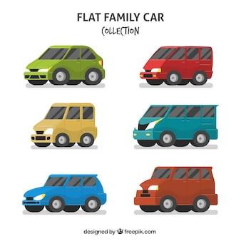Verzameling van zes gezinsauto's