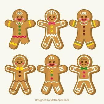 Verzameling van zes gingerbread man cookies