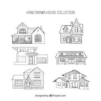 Verzameling van zes hand getekende huizen