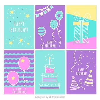 Verzameling van zes hand getrokken verjaardagskaarten