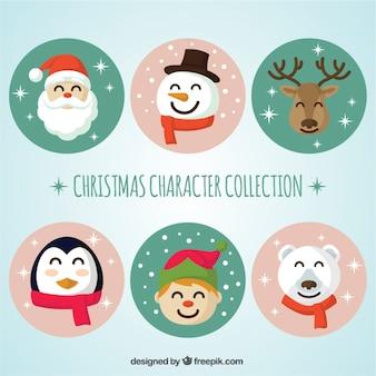 Verzameling van zes kerst personages met ronde frames