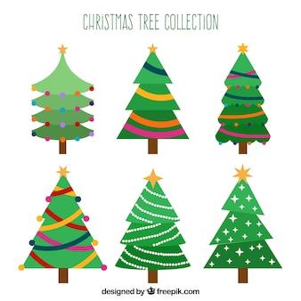 Verzameling van zes kerstbomen in verschillende tinten groen