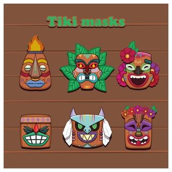 Verzameling van zes kleurrijke tiki-maskers