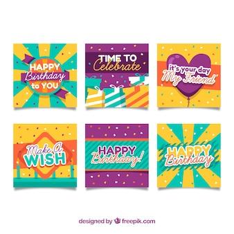 Verzameling van zes kleurrijke verjaardagskaarten in platte ontwerp
