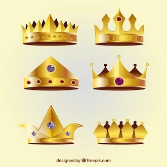 Verzameling van zes realistische kronen