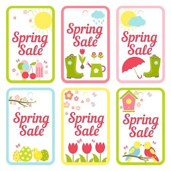 Verzameling van zes vectorontwerpen voor voorjaarsuitverkoop met afbeeldingen van het weerijs, tuinieren, tulpen en vogels van pasen voor reclame en afdrukken in eenvoudige rechthoekige kaders