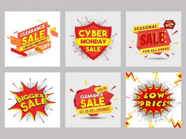 Verzameling van zes verschillende verkoop poster of spandoekontwerp.