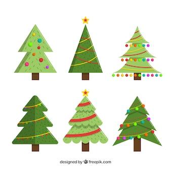 Verzameling van zes versierde kerstbomen