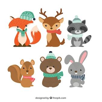 Verzameling van zes winterdieren