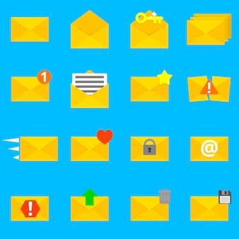 Verzameling van zestien gedetailleerde enveloppictogrammen.