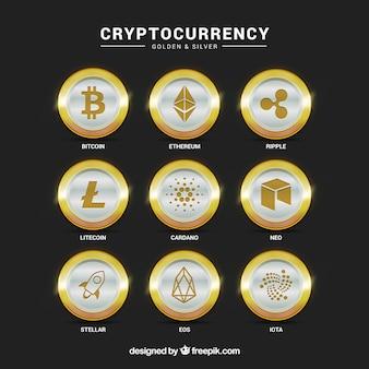 Verzameling van zilveren cryptocurrency-munten