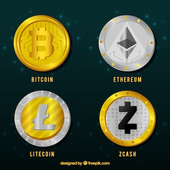 Verzameling van zilveren en gouden cryptocurrency-munten