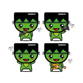 Verzameling van zombie sets met muziekinstrumenten vector illustratie vlakke stijl cartoon