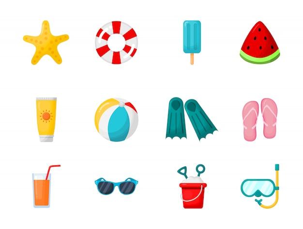 Verzameling van zomer geïsoleerde elementen
