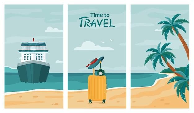 Verzameling van zomer reizen achtergrond