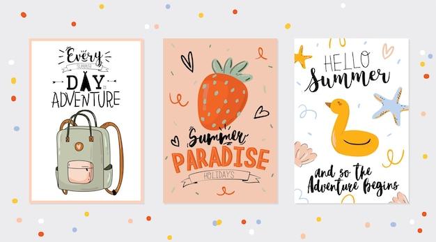Verzameling van zomerdruk met leuke vakantie-elementen en belettering. hand getekend trendy stijl