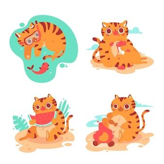 Verzameling van zomerkitty-stickers