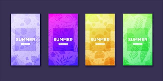 Verzameling van zomerse instagramverhalen in verloopstijl