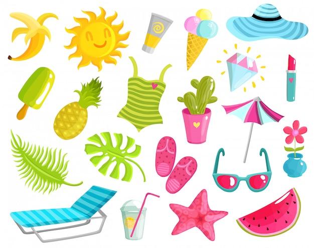 Verzameling van zomerspullen