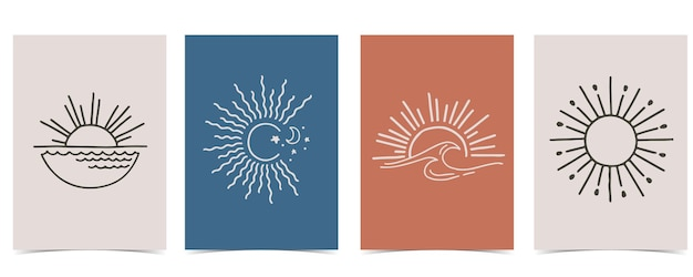 Verzameling van zon met zee, golf, wind, vorm.