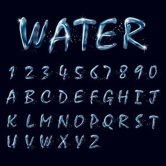 Verzameling van zuiver water alfabetten en getallen op zwarte achtergrond