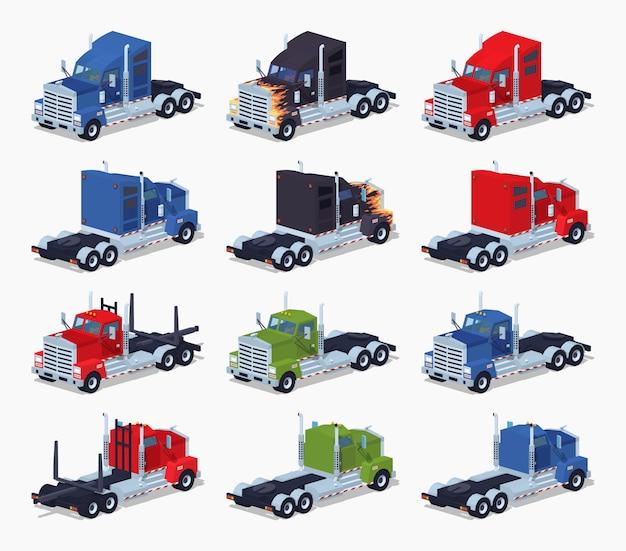 Verzameling van zware 3d lowpoly isometrische vrachtwagens