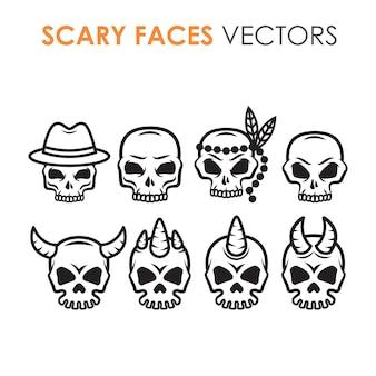 Verzameling van zwart-witte omtrekschedels met vermenigvuldigde tekens en ontwerpen