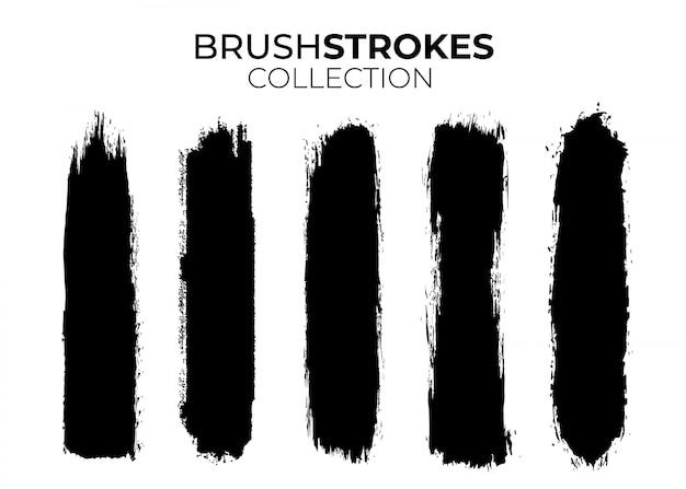 Verzameling van zwarte penseelstreken